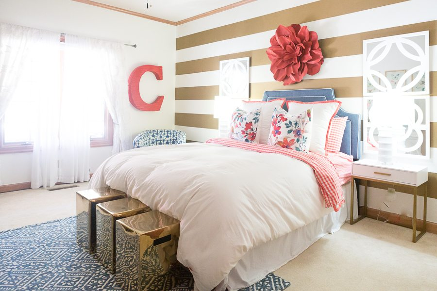 Modern Bedroom Girls gingham, floral & stripes modern girls bedroom | cc&mike | blog