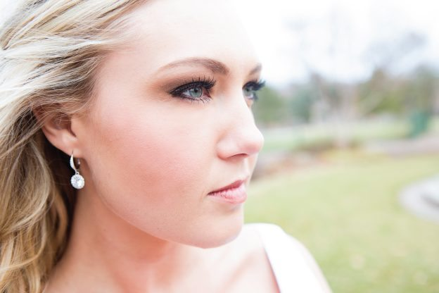 serious bride profile shot
