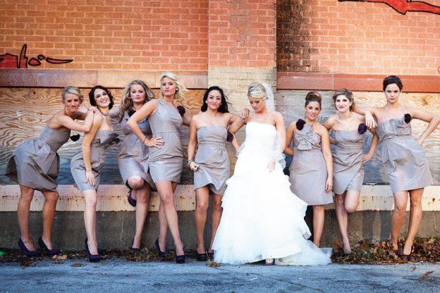 bride and bridesmaids in grey