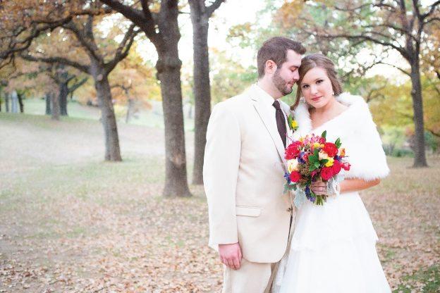 groom and bride in fur
