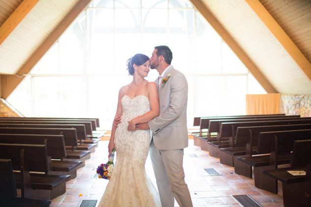bride and groom in chapel
