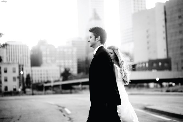 b&w bride and groom