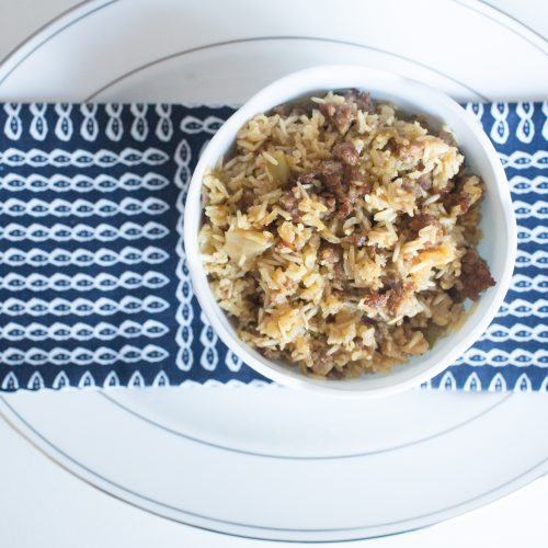 Quick and Easy Sausage Rice Casserole (And a little Life with Coco Story)