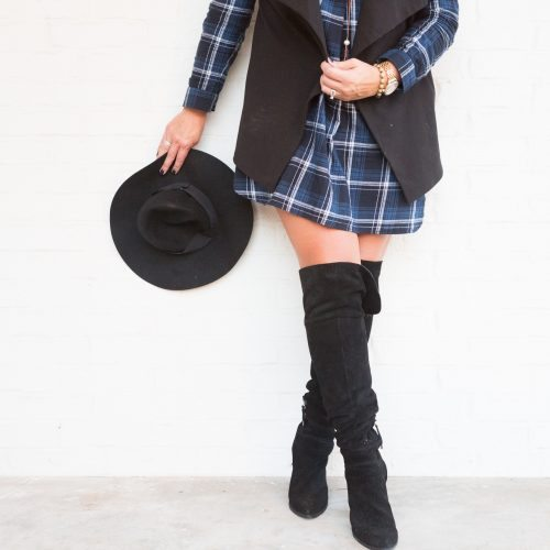 Holiday Outfit Ideas – Plaid Dress and Over the Knee Boots