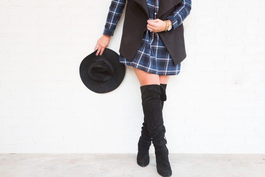 Holiday Outfit Ideas - Plaid Dress and Over the Knee Boots 5