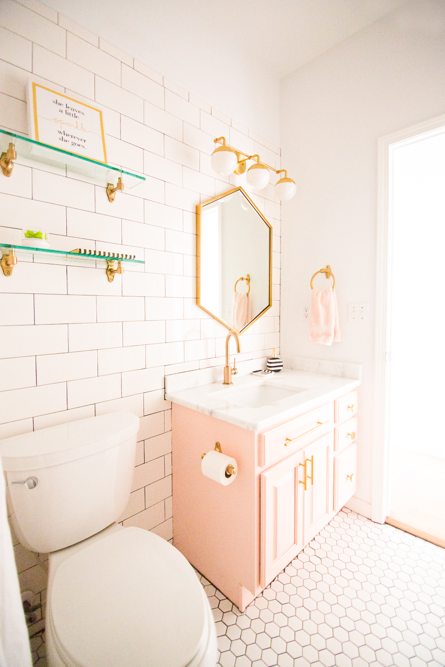 Modern glam blush girls bathroom design cc and mike for Bathroom models photos