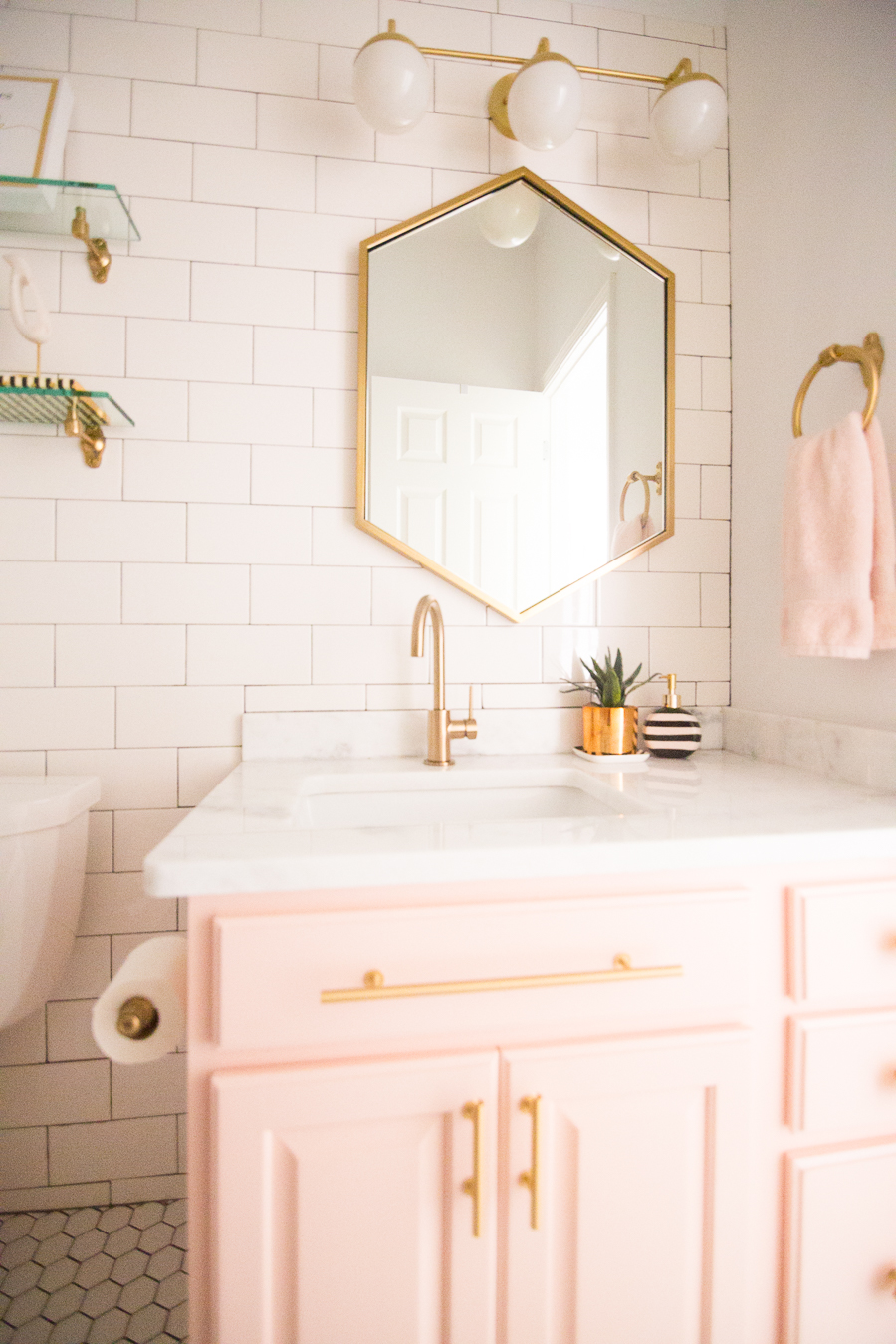 Modern Glam Blush Girls Bathroom Design Cc And Mike