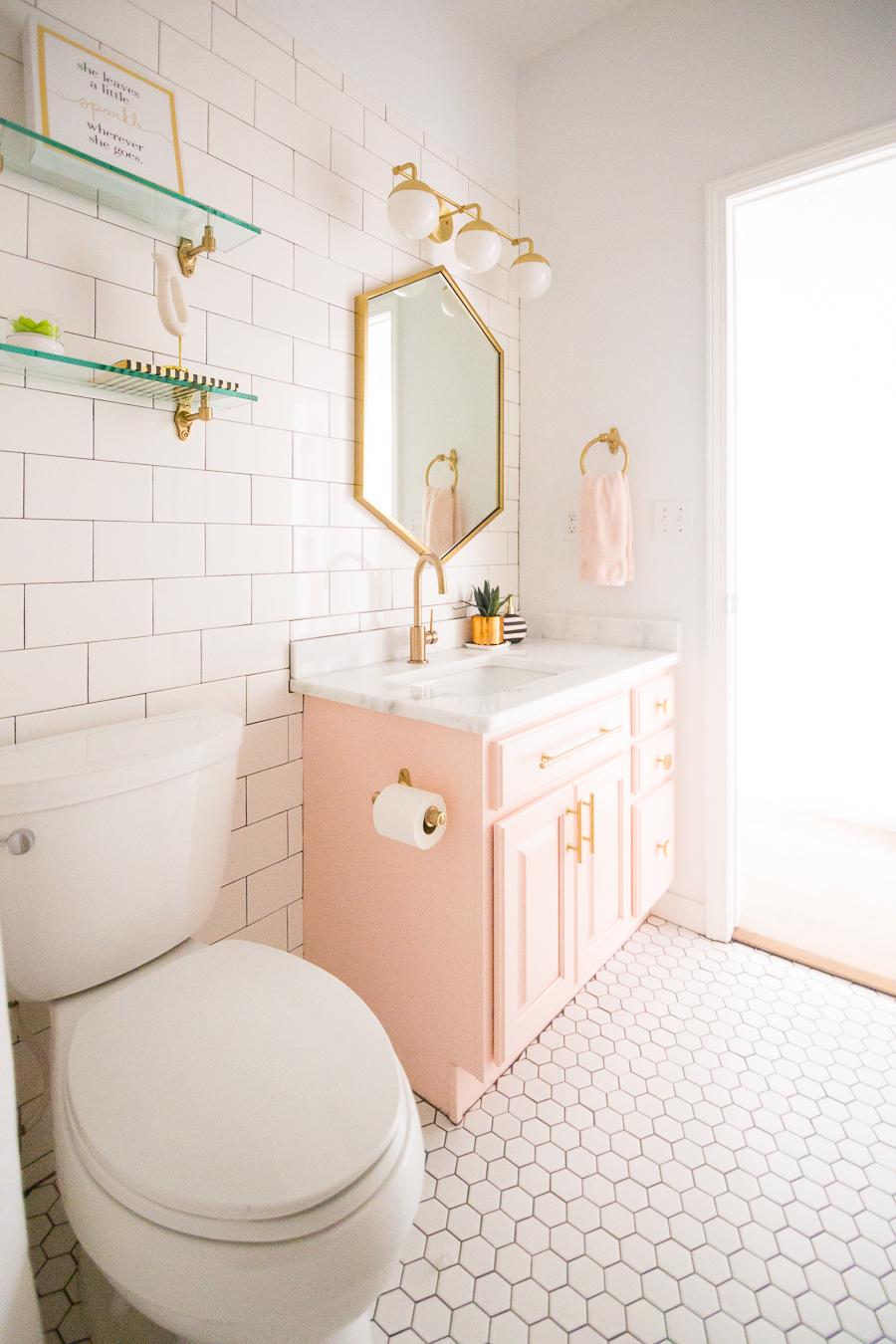 Ladies Bathroom: Modern Glam Blush Girls Bathroom Design