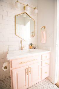 modern glam blush girls bathroom design gold hexagon