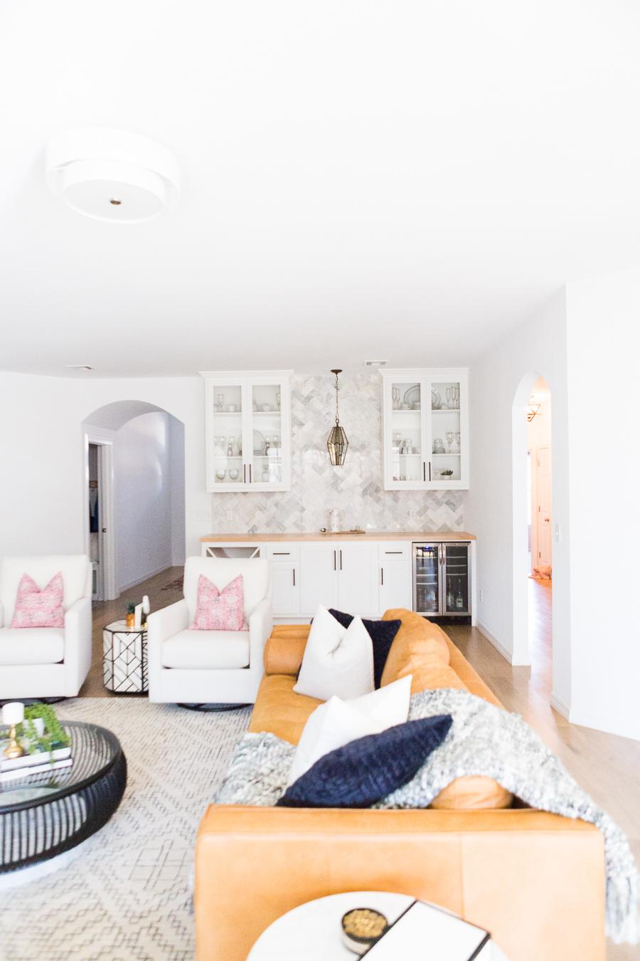 Tulsa Remodel Reveal Modern White Farmhouse marble herringbone backsplash bar pendant lighting-1