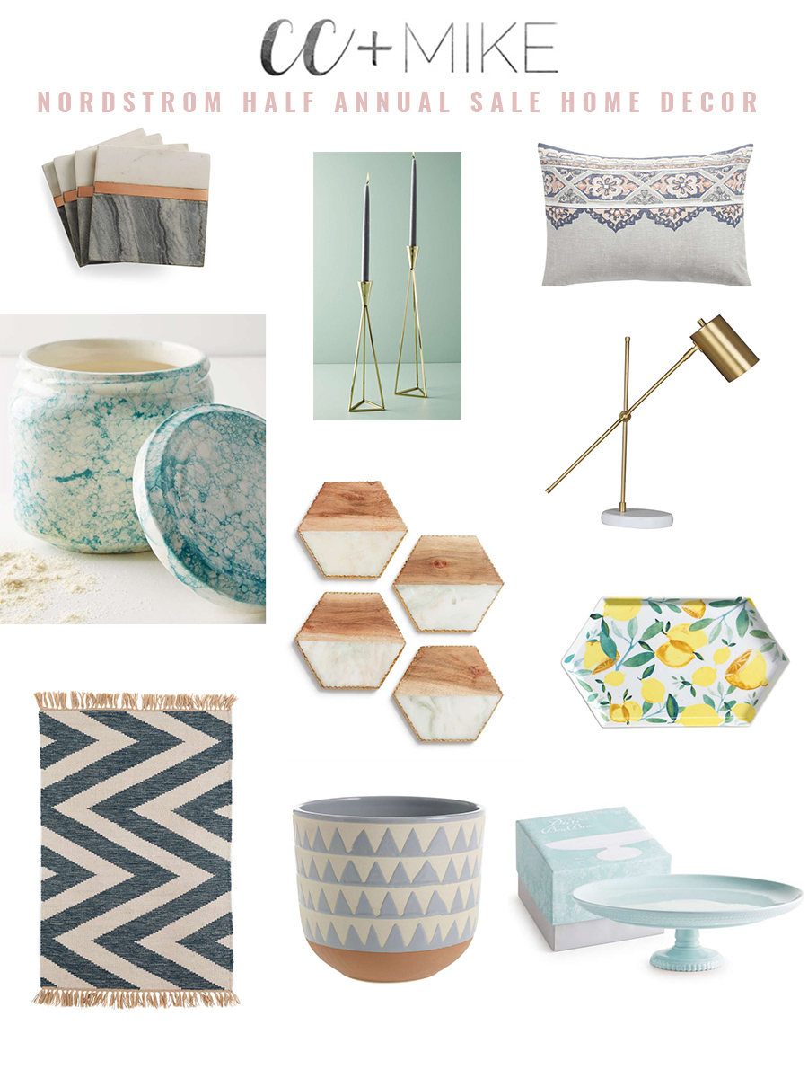 FASHION FAVORITES NORDSTROM HALF ANNUAL SALE MORROCAN RUGS WOOL AREA RUGS SALE home decor tapered gold candlesticks marble and wood coasters gold bedside task lamp lemon tray blue cake plate dash and albert ticking stripe rug