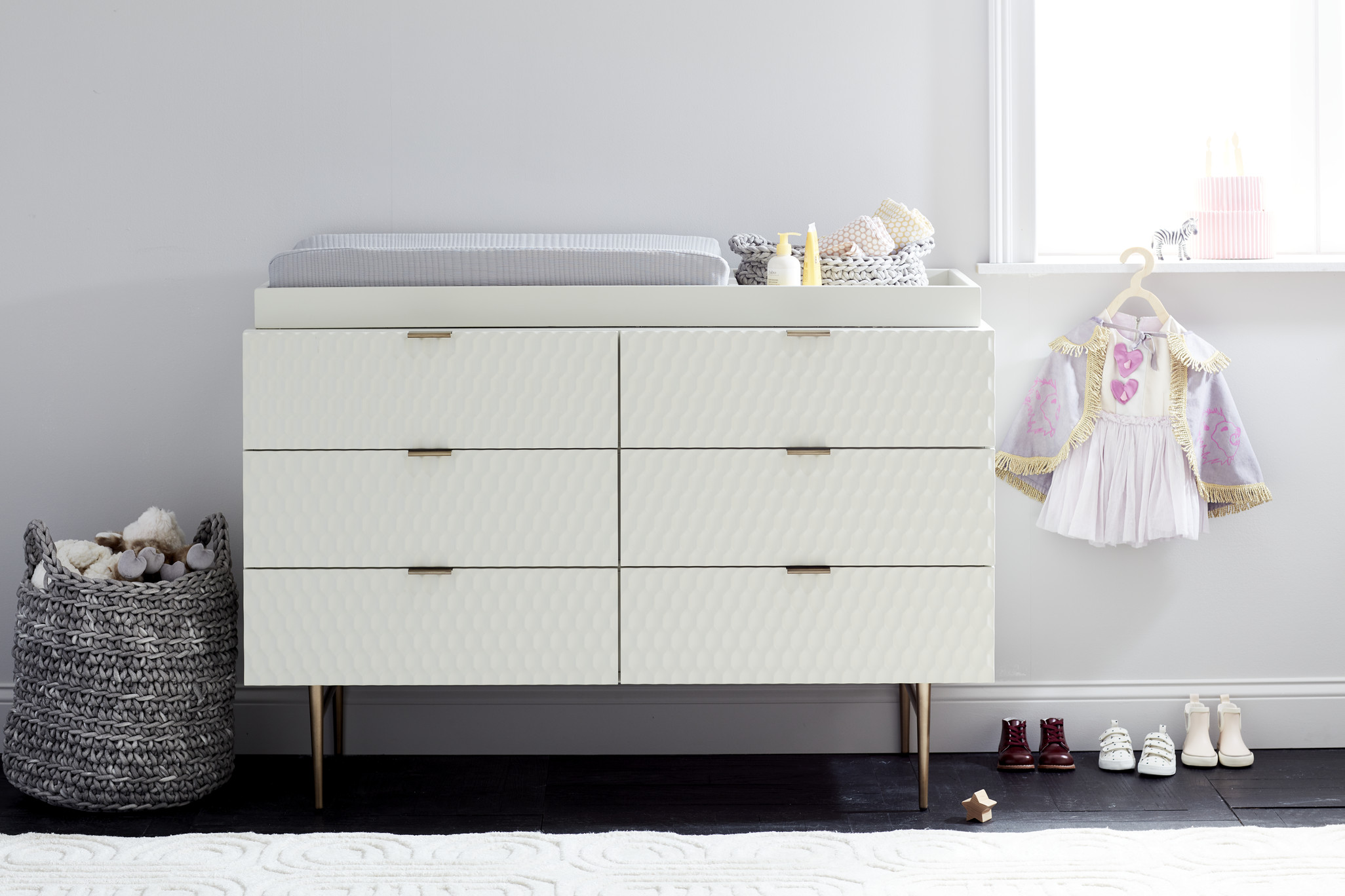 West Elm Modern Baby and Kids Furniture and Home Decor Audrey changing table dresser modern white changing table gold hardware and legs midcentury modern baby furniture