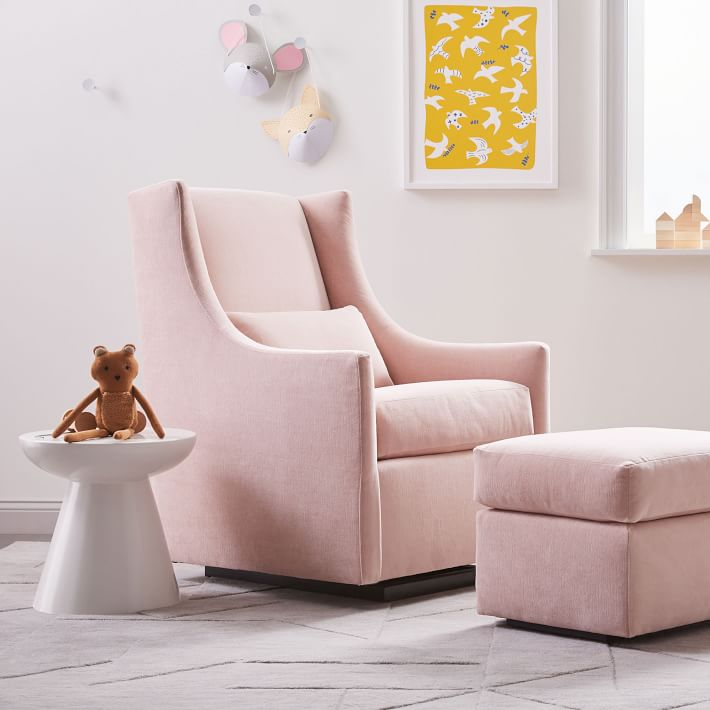 West Elm Modern Baby and Kids Furniture and Home Decor midcentury modern blush baby glider with ottoman