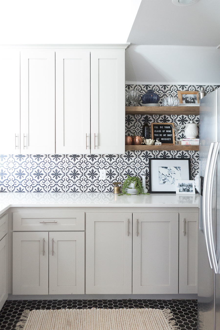 Affordable Ceramic Patterned Tile Backsplash And Flooring Cc And Mike