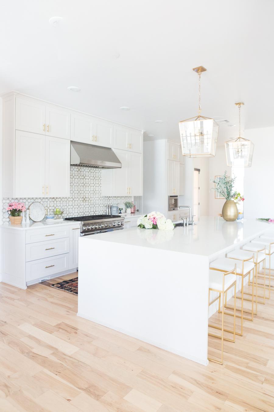 Affordable Ceramic Patterned Tile Backsplash affordable modern gold bar stools white kitchen with gold hardware design ideas patterned tile backsplash kitchen gold kitchen lantern lighting