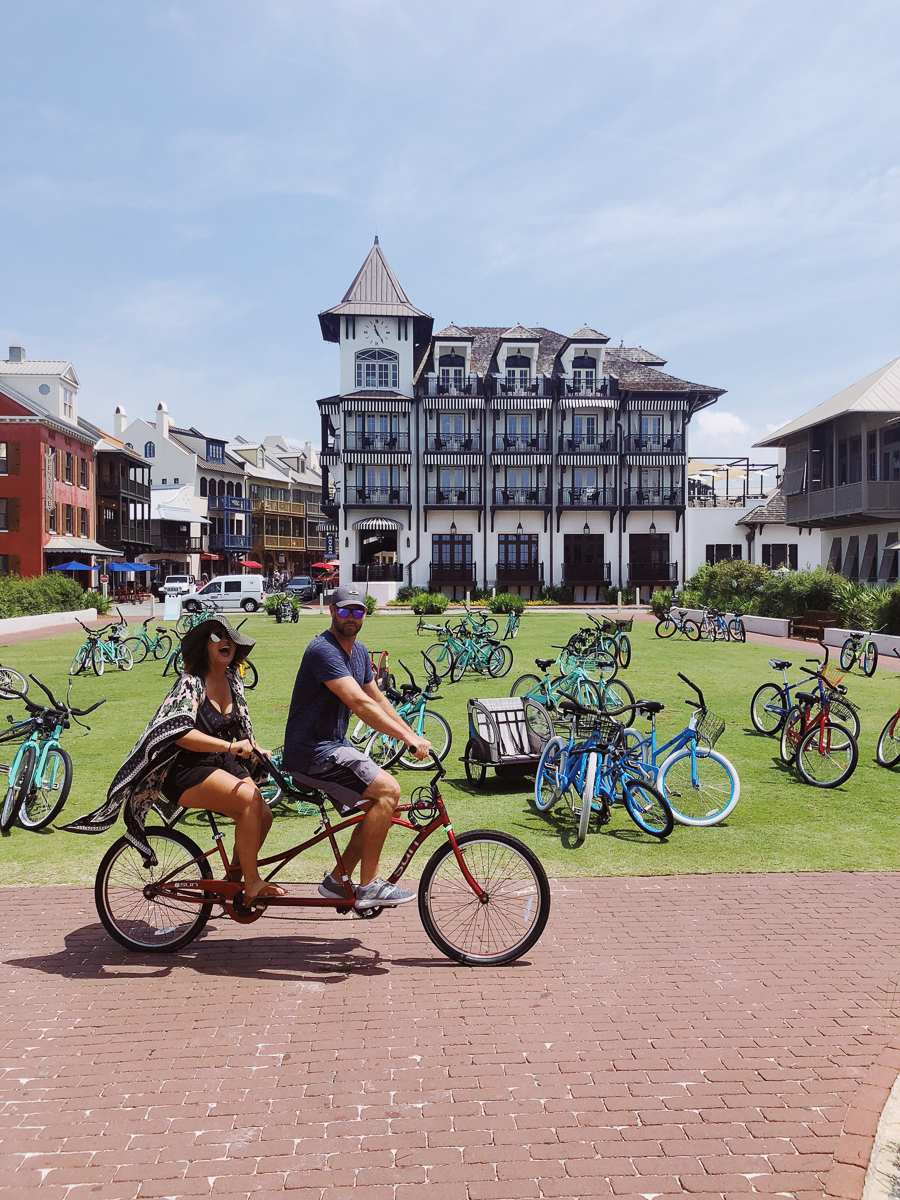 Tips for Planning the Perfect Family Beach Trip to Rosemary Beach tandem bicycle Rosemary beach bike rental The Pearl Rosemary Beach