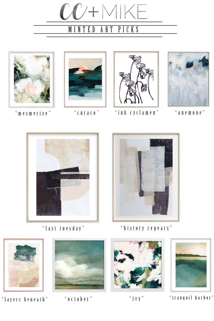 10 Beautiful Minted Framed Art Prints for Home Decor abstract art pieces by minted framed in rose gold matte brass and white frames-7