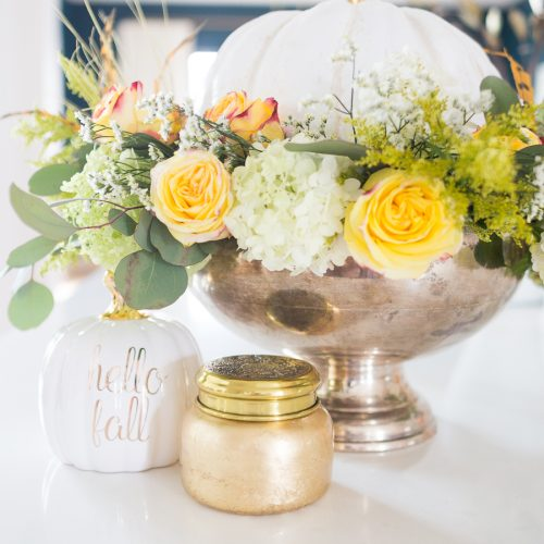 DIY Silver Urn Pumpkin Centerpiece for Fall