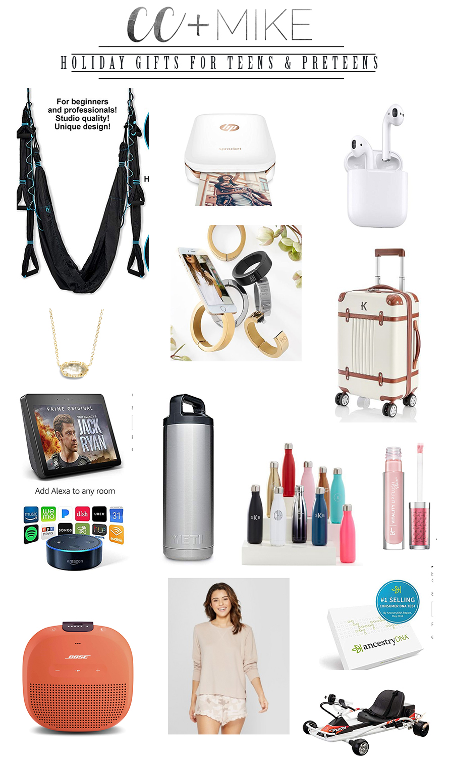 CC and Mike Holiday Gift Guide best christmas gifts for teens and preteens alexa show personalized luggage yeti tumbler best gifts for teenagers