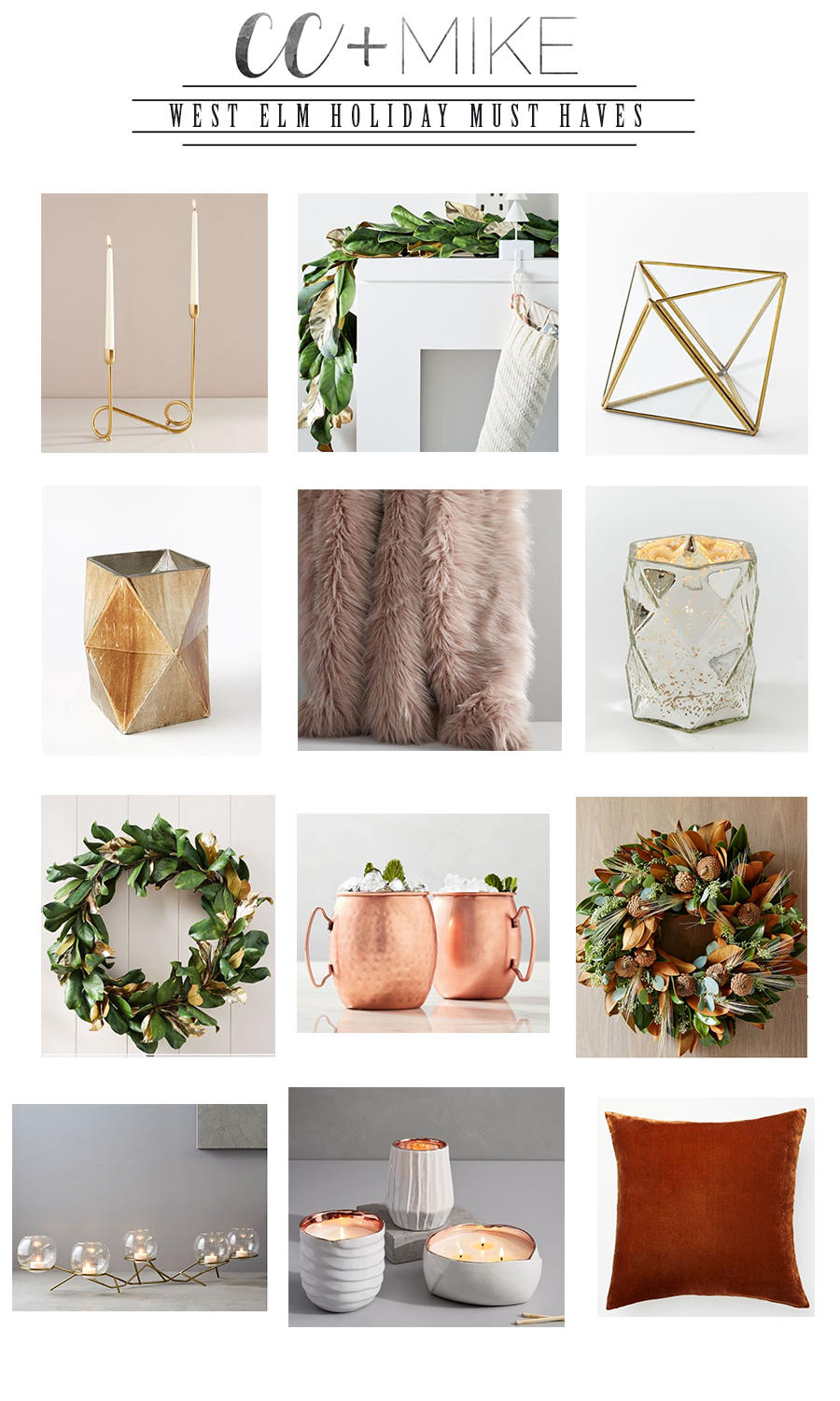 Simple Ways to Decorate for the Holidays from West Elm holiday must haves mercury faceted candles magnolia garland magnolia wreath brass candleholders cooper votive candles