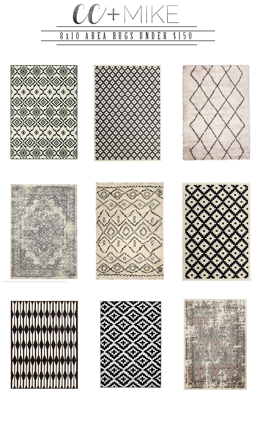 Budget Friendly Holiday Decor from Walmart 8X10 Affordable area rugs under $150 Walmart black and white better homes and gardens