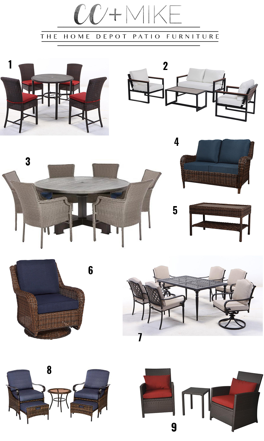How to Prepare Your Patio for Spring with the Home Depot with a variety of patio furniture in various colors and sizes