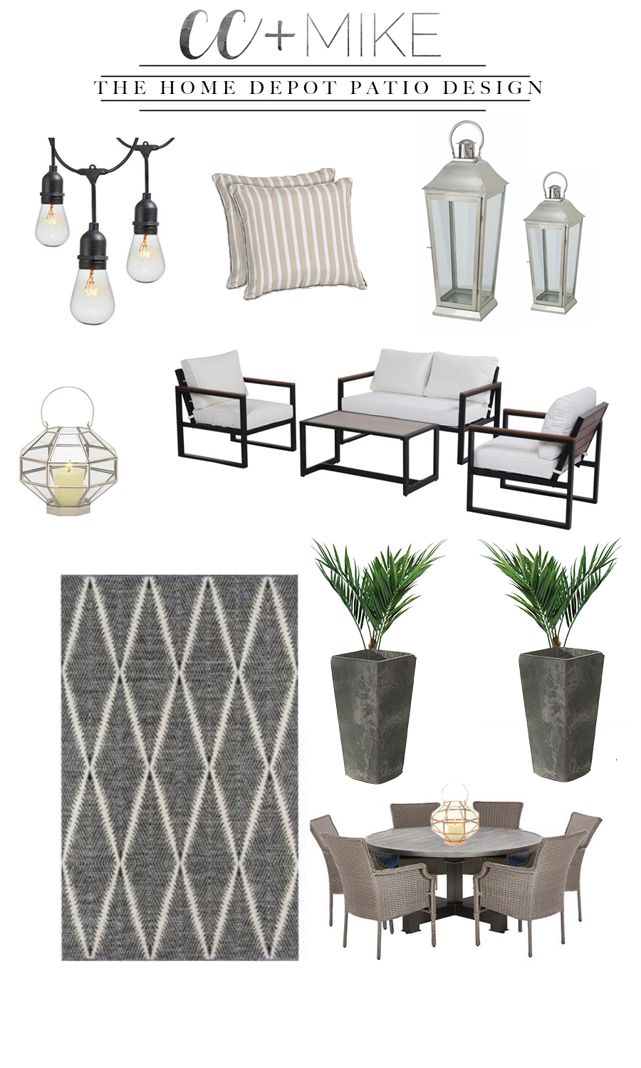 How to Prepare Your Patio for Spring with the Home Depot showcasing a variety of patio decor from rugs to outdoor pillows, lighting and furniture