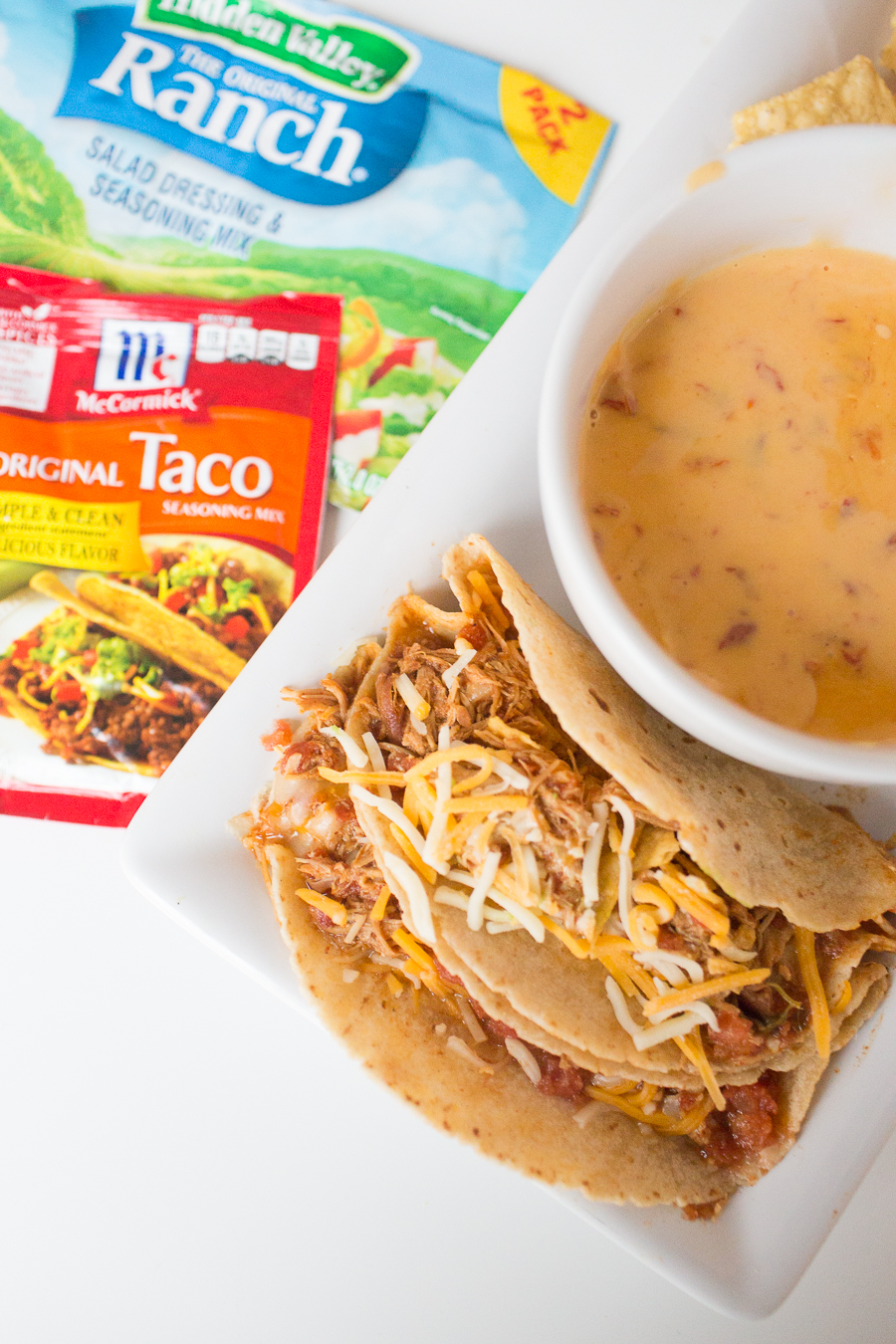 Two Minute Crockpot Chicken Ranch Tacos-3
