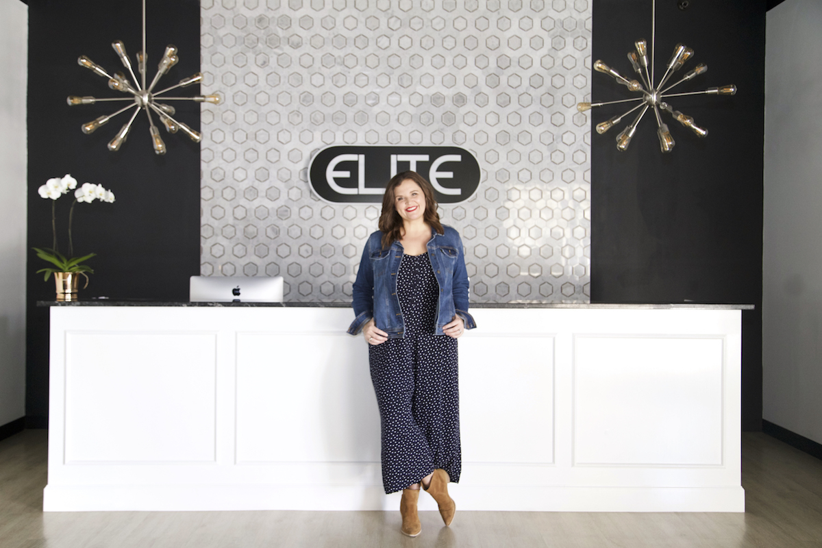 elite dance studio with designer carissa miller wearing jean jacket and jumpsuit