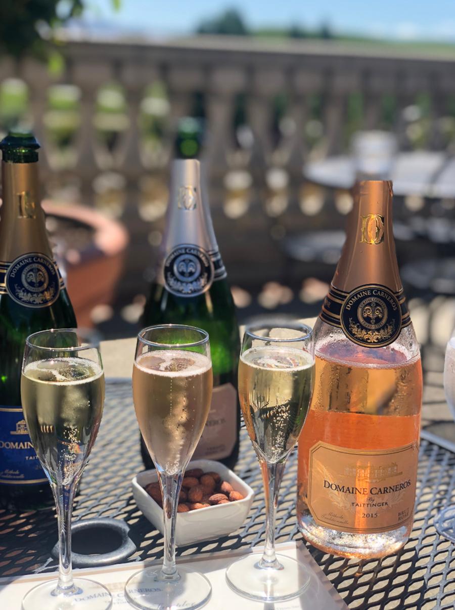 champagne in glasses for tasting