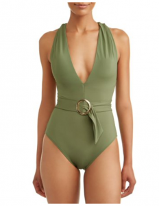 Back to School with walmart womens fashion olive green belted swimsuit