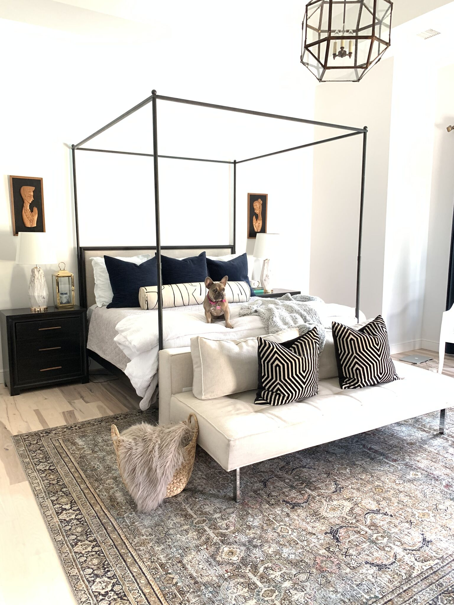How to Refresh Your Rugs for Spring Coastal Master Bedroom Design from WalMart Home large seagrass basket