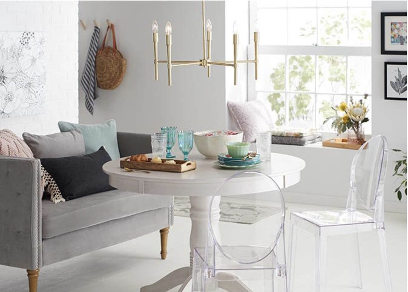 Vintage Chic Bathroom Update shop by style walmart gold lighting white table acrylic chairs
