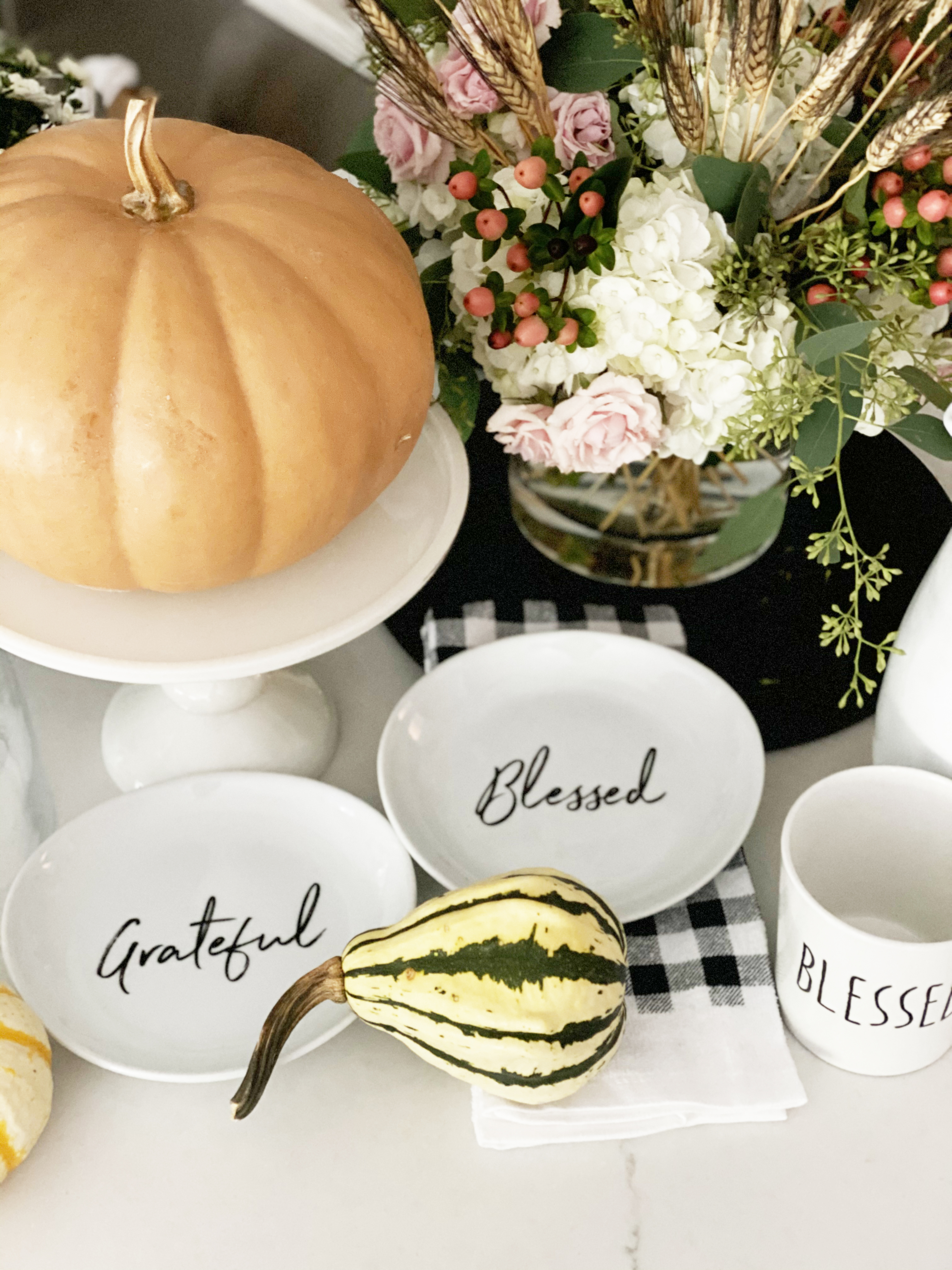 Affordable Fall Front Porch and Tabletop Decor Ideas tabletop fall styling blessed and grateful black and white plates
