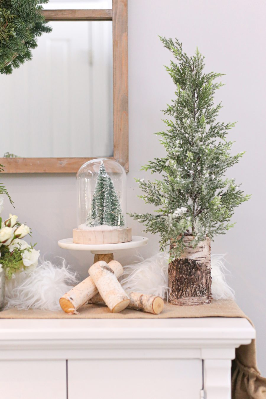 Black Friday and Cyber Monday Sales from Wayfair tabletop pine tree and snowglobe with bottlebrush pine trees