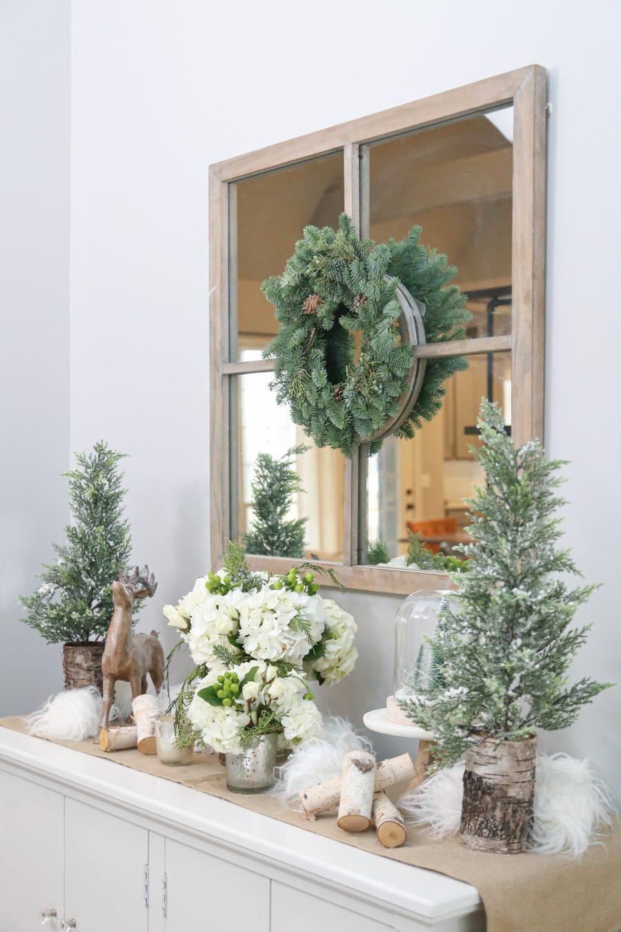 Black Friday and Cyber Monday Sales from Wayfair Mirror with Christmas wreath over tabletop christmas decor
