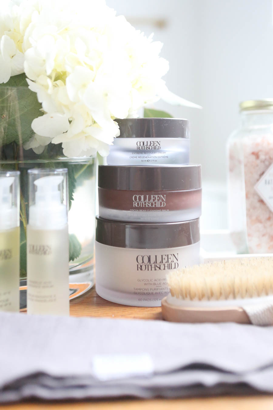 Hair and Skin Care Routine with Colleen Rothschild Products hair and skin products to help aging skin spots and melanoma