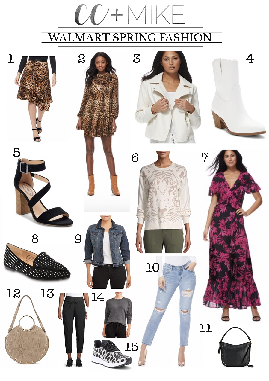 15 Must Have Walmart Spring Fashion Items leopard dress leopard miid skirt white booties boyfriend jeans hobo bag tiger sweatershirt wrap dress
