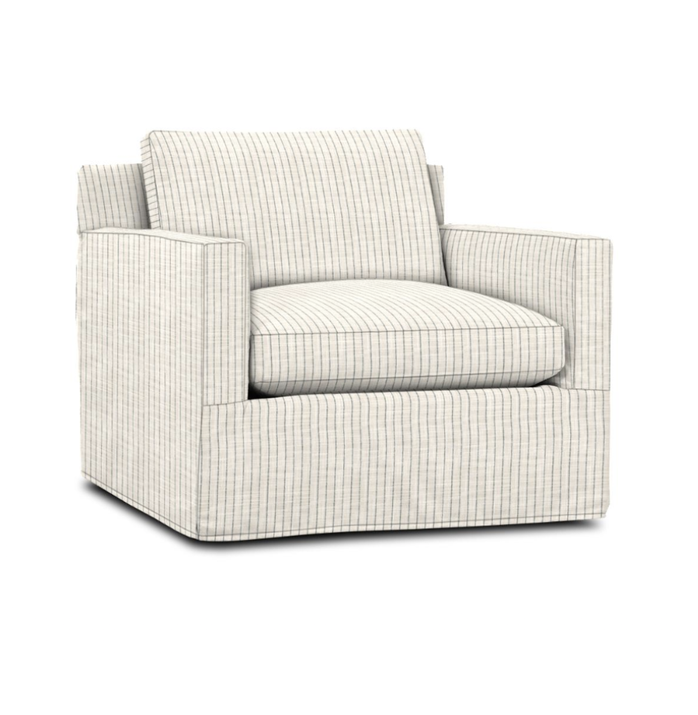 CC and Mike Frisco I Project Reveal custom designer ordered stripe swivel arm chair most comfortable arm chair