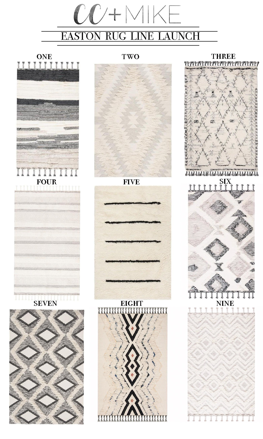 5 Tips for Boys Bedroom Design easton rug line launch cc and mike plush cozy black and white aztec and stripe rugs with tassels