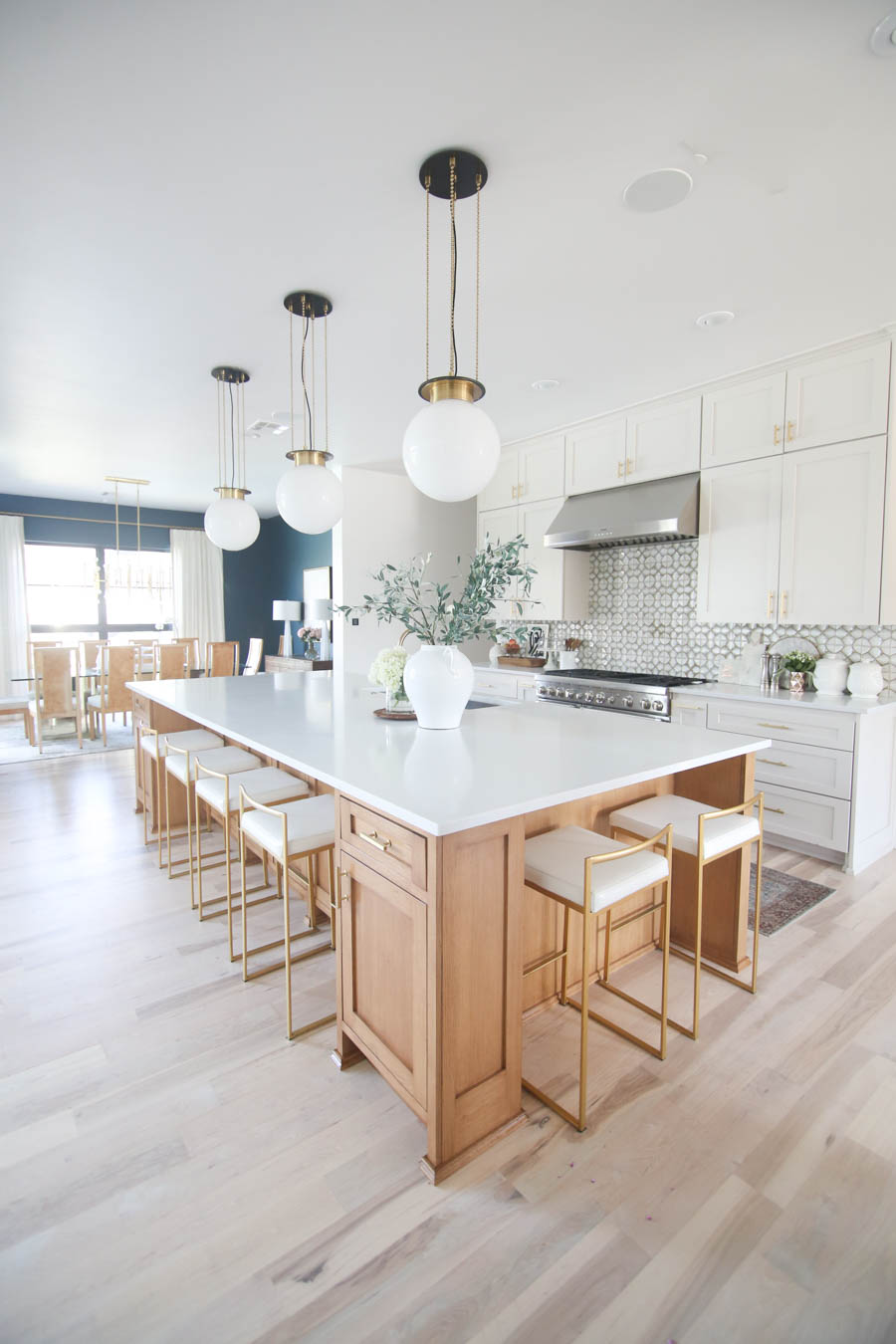 Cc And Mike Kitchen Remodel Reveal Large Natural Wood Island With Quartz Countertops And Gold Bar Stools 35 Cc Mike