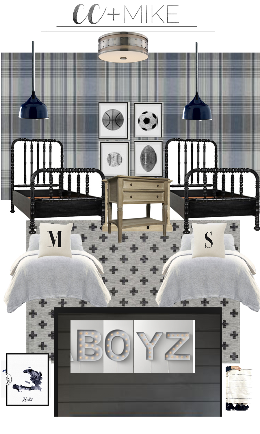 5 Tips for Boys Bedroom Design black Jenny Lind bed reclaimed wood bed best boy bedroom design plaid wallpaper black Jenny Lind bed Swiss army check rug
