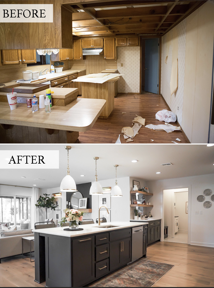 Cc And Mike Navy And Cedar Remodel Kitchen Before And Afters Black Kitchen Island With Quartz Countertops And White And Gold Pendants With Wood Vent Hood Cc Mike