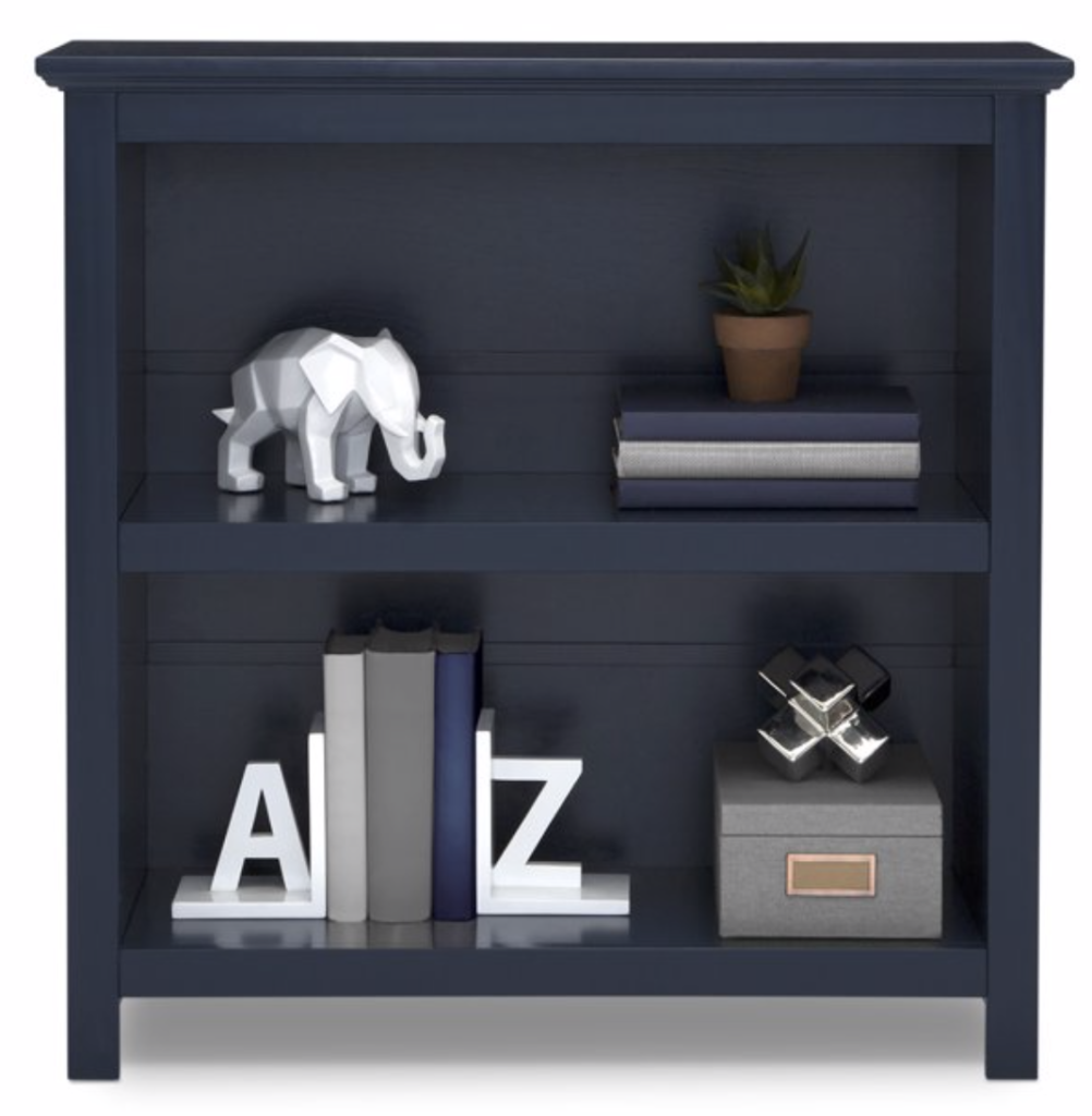 How to Decorate Boys Rooms on a Budget navy bookshelf
