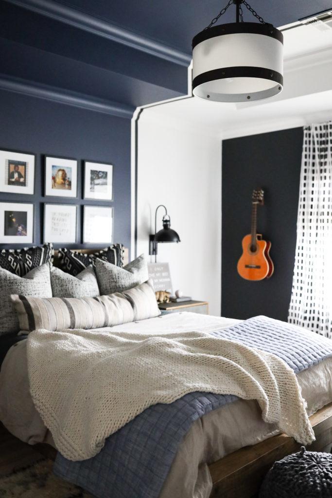 Studio Color Wall Paint-7 teen boy bedroom black wall paint navy wall paint guitar hanging on wall gallery art wall