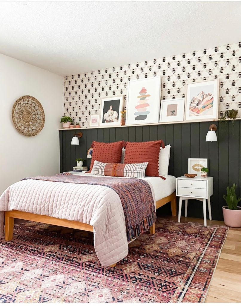 Girl's bedroom with hot pink and orange accents, featuring the Layla in Pink/Lagoon area rug from CC+Mike