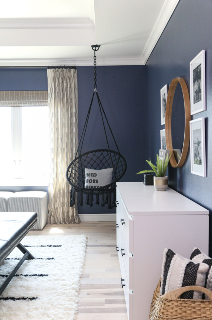 CC and Mike 2020 Project Recap and 2021 PREVIEW navy teen boys bedroom with wood mirror and hanging chair