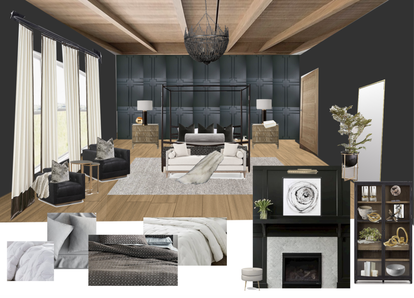 CC and Mike 2020 Project Recap and 2021 PREVIEW  black master bedroom with wood ceiling design board