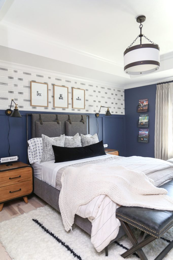The ivory and black Easton rug and the Kichler Rayleigh pendant light from CC+ MIKE for a Teen Bedroom Reveal