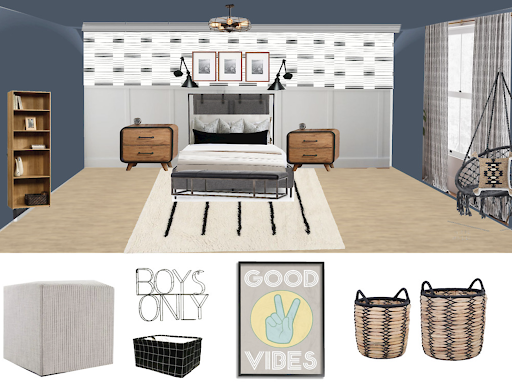 A design board for a Teen Bedroom Reveal